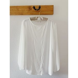 unknown Tops - Flowy White Long Sleeved Blouse